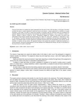 Cession Contract - Abstract Action Deal Mediterranean Journal of Social Sciences