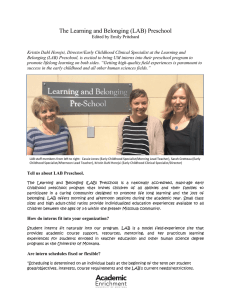 The Learning and Belonging (LAB) Preschool