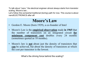"To talk about ""nano,"" the electrical engineer almost always starts... scaling, Moore's law..."