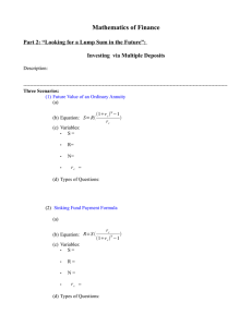 Mathematics of Finance Investing  via Multiple Deposits