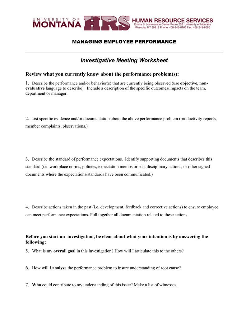 Investigative Meeting Worksheet MANAGING EMPLOYEE PERFORMANCE
