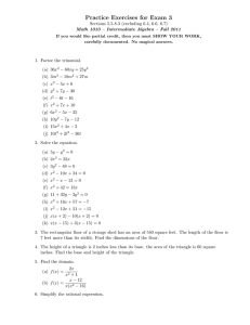 Practice Exercises for Exam 3 Sections 5.5-8.3 (excluding 6.4, 6.6, 6.7)