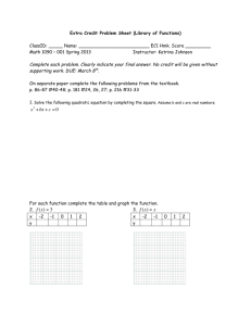 Extra Credit Problem Sheet (Library of Functions)