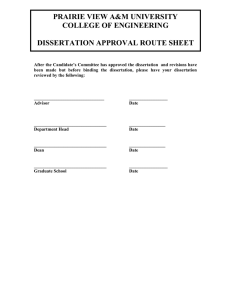 PRAIRIE VIEW A&M UNIVERSITY COLLEGE OF ENGINEERING  DISSERTATION APPROVAL ROUTE SHEET