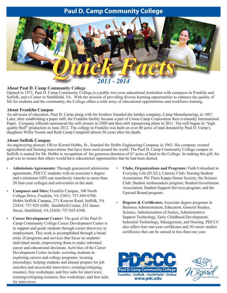 Quick Facts 2013 2014 Paul D Camp Community College