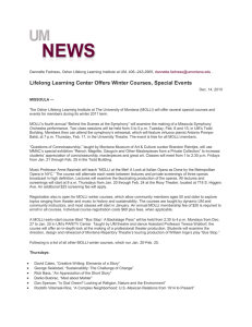 Lifelong Learning Center Offers Winter Courses, Special Events