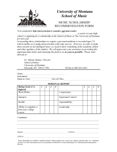 University o f Montana School o f Music MUSIC  SCHOLARSHIP RECOMMENDATION FORM