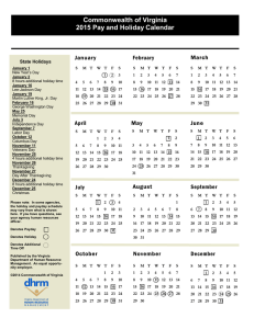 Commonwealth of Virginia 2015 Pay and Holiday Calendar February January
