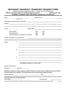 METHODIST UNIVERSITY TRANSCRIPT REQUEST FORM