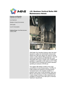 J.D. Neuhaus Vertical Roller Mill Maintenance Hoists  Features and Benefits