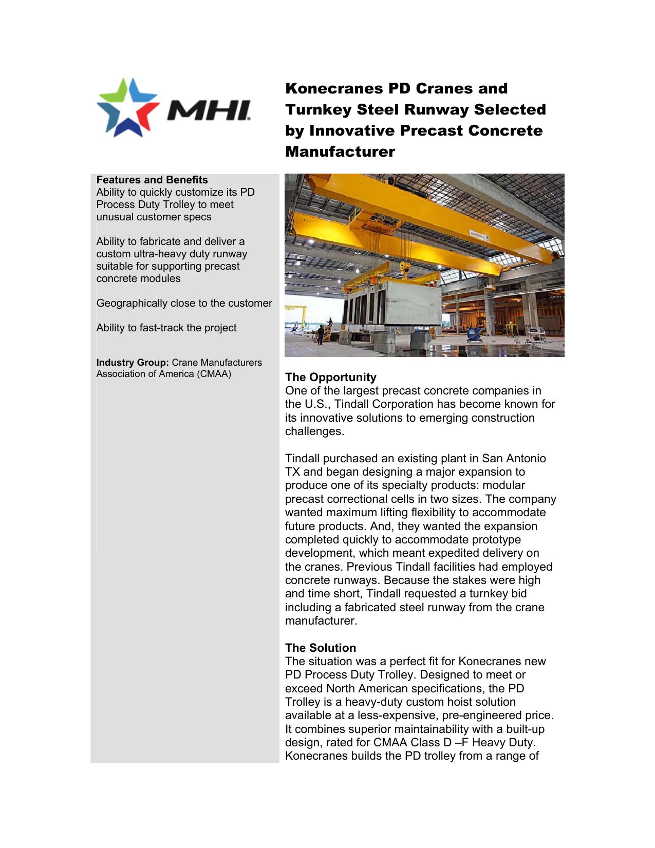 Konecranes PD Cranes and Turnkey Steel Runway Selected
