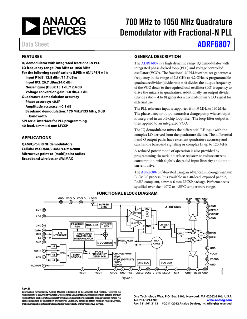 700 Mhz To 1050 Quadrature Demodulator With Fractional N Pll Fm Circuit Adrf6807 Data Sheet