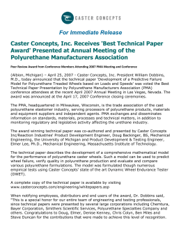 For Immediate Release Caster Concepts, Inc. Receives 'Best Technical Paper