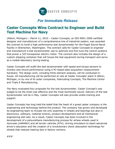 For Immediate Release Caster Concepts Wins Contract to Engineer and Build