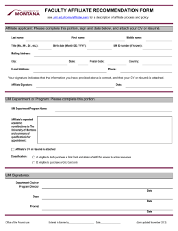 FACULTY AFFILIATE RECOMMENDATION FORM