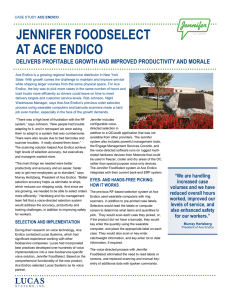 JENNIFER FOODSELECT AT ACE ENDICO