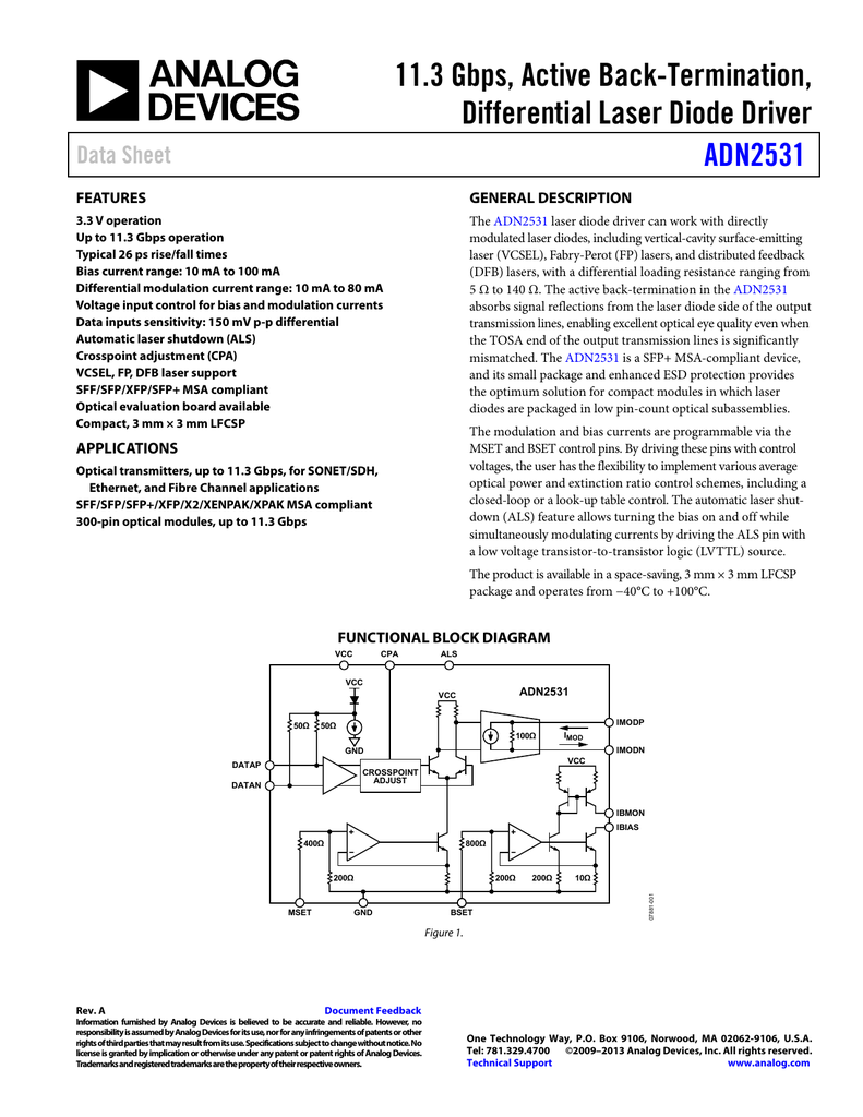 113 Gbps Active Back Termination Differential Laser Diode Driver Circuit Pulsed Adn2531 Data Sheet