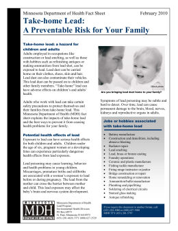 Take-home Lead: A Preventable Risk for Your Family February 2010