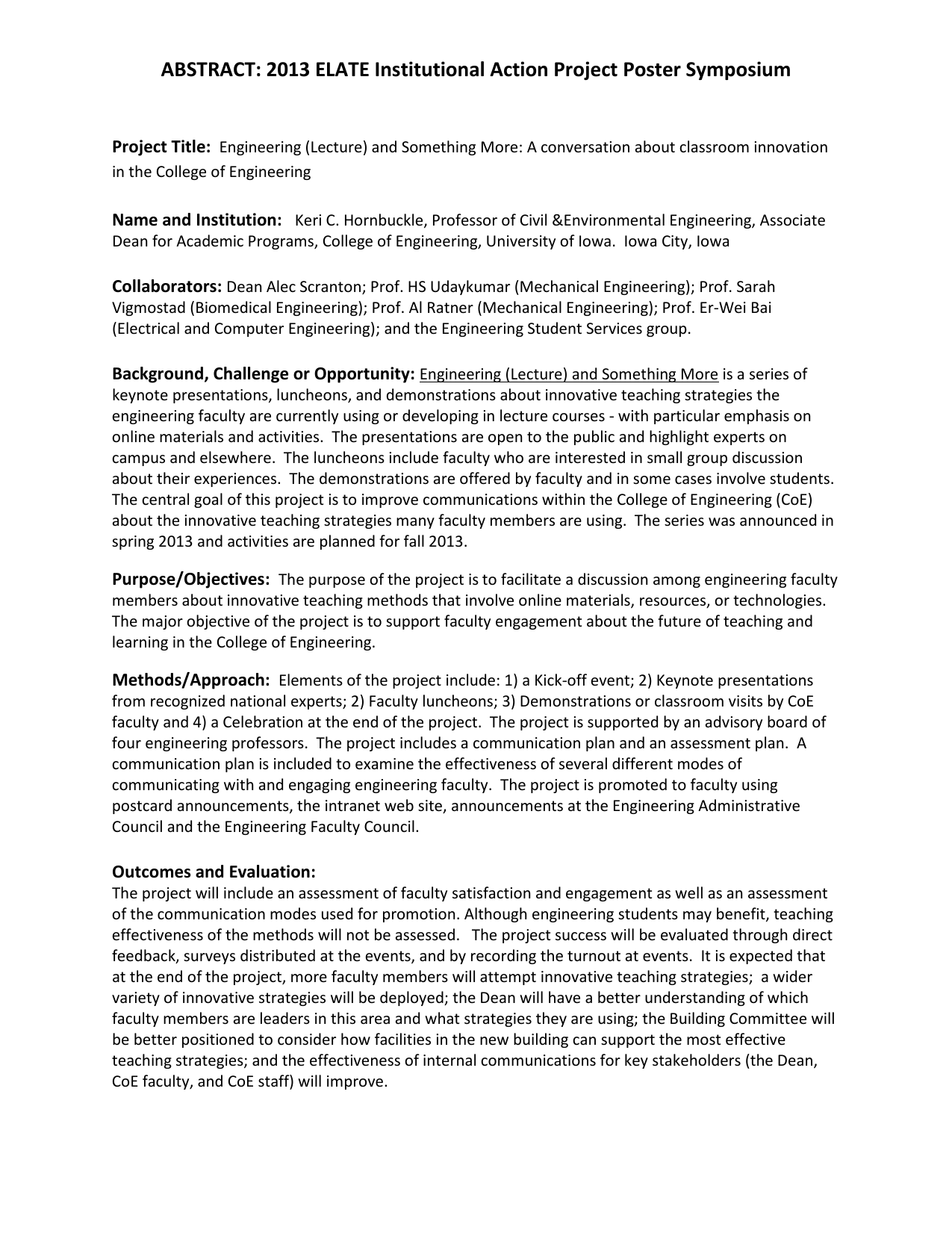 ABSTRACT: 2013 ELATE Institutional Action Project Poster