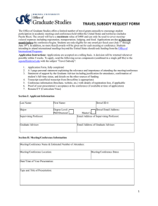 TRAVEL SUBSIDY REQUEST FORM