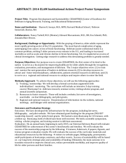 ABSTRACT: 2014 ELAM Institutional Action Project Poster Symposium