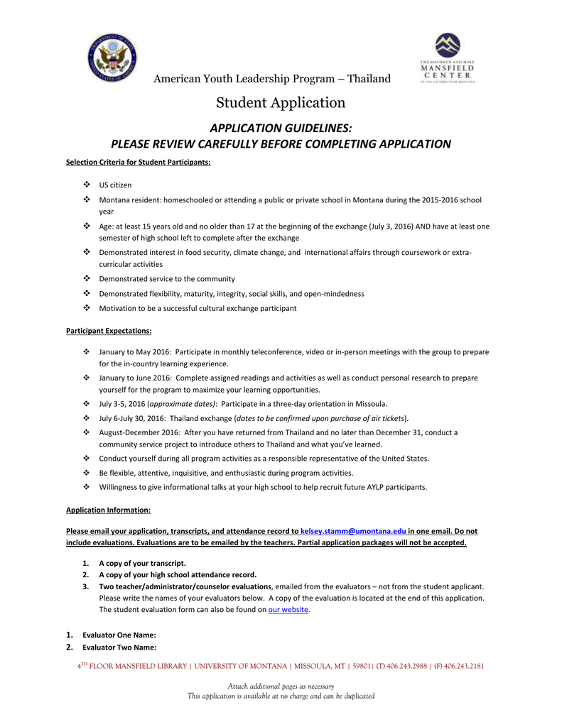 Student Application APPLICATION GUIDELINES: PLEASE REVIEW CAREFULLY ...