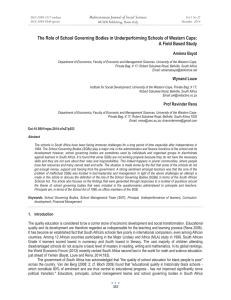 The Role of School Governing Bodies in Underperforming Schools of... A Field Based Study Mediterranean Journal of Social Sciences Amiena Bayat