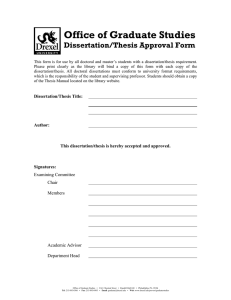 Office of Graduate Studies Dissertation/Thesis Approval Form