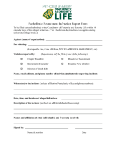 Panhellenic Recruitment Infraction Report Form
