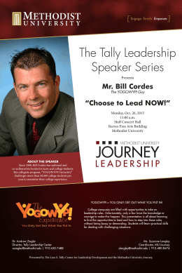 "The Tally Leadership Speaker Series Mr. Bill Cordes ""Choose to Lead NOW!"""