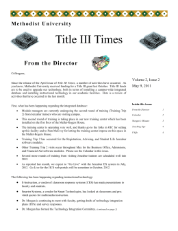 Title III Times From the Director Volume 2, Issue 2