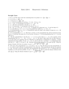 Math 1210-1 Homework 1 Solutions Straight Lines