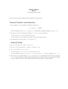 Math 3210-1 HW 7 Natural Numbers and Induction