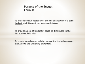 Purpose of the Budget Formula