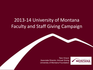 2013-14 University of Montana Faculty and Staff Giving Campaign Tara Vinson