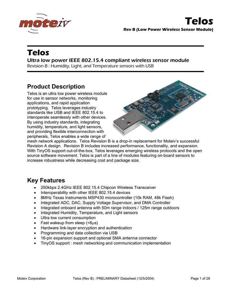 Telos Product Description Ultra low power IEEE 802 15 4