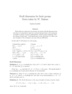 Krull dimension for limit groups Notes taken by W. Malone Larsen Louder