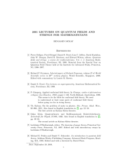 2001 LECTURES ON QUANTUM FIELDS AND STRINGS FOR MATHEMATICIANS References