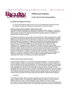 Wilderness Institute  Center Review Recommendation B. Review and Approval Process