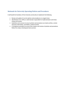 Rationale for University Operating Policies and Procedures