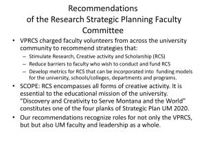 Recommendations of the Research Strategic Planning Faculty Committee