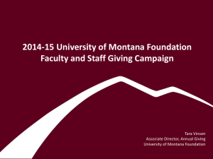 2014-15 University of Montana Foundation Faculty and Staff Giving Campaign Tara Vinson
