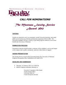 The Montana Faculty Service Award, 2012 CALL FOR NOMINATIONS