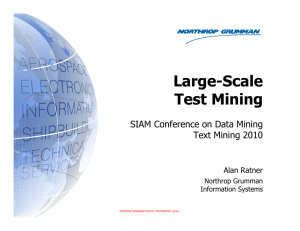 Large-Scale Test Mining SIAM Conference on Data Mining Text Mining 2010