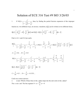 Solution of ECE 316 Test #9 S03 3/26/03 [ ] ( )