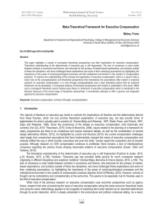 Meta-Theoretical Framework for Executive Compensation Mediterranean Journal of Social Sciences Maloa, Frans