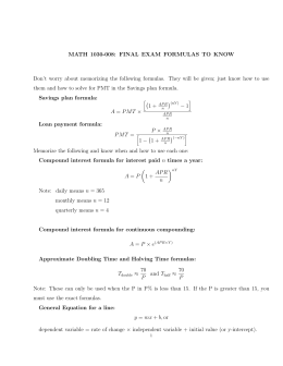 MATH 1030-008: FINAL EXAM FORMULAS TO KNOW