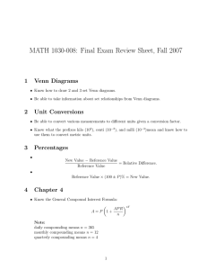 MATH 1030-008: Final Exam Review Sheet, Fall 2007 1 Venn Diagrams