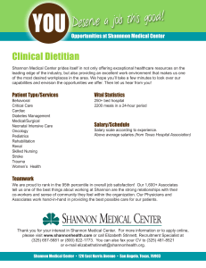 Clinical Dietitian Opportunities at Shannnon Medical Center Employee Benefits