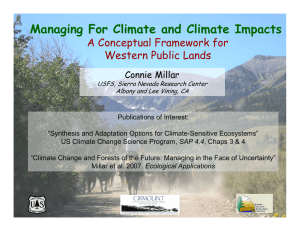 Managing For Climate and Climate Impacts A Conceptual Framework for Connie Millar